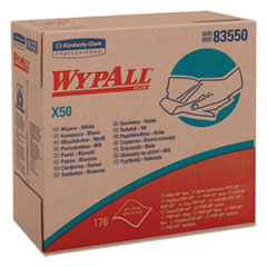WypAll® X50 Cloths, POP-UP Box, 9 1/10 x 12 1/2, White, 176/Box, 10 Boxes/Carton