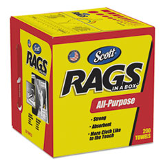 Scott® Rags in a Box, POP-UP Box, 10 x 12, White, 200/Box, 8 Boxes per Carton