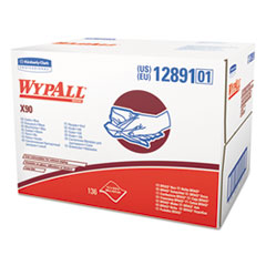 WypAll® X90 Cloths, Brag Box, 11 1/10 x 16 4/5, Denim Blue, 136/Box, 1 Box/Carton