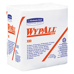 WypAll® X80 Cloths, HYDROKNIT, 1/4 Fold, 12 1/2 x 12, White, 50/Box, 4 Boxes/Carton