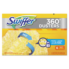 Swiffer® 360 Dusters Refill, Dust Lock Fiber, Yellow, 6/Box, 4 Box/Carton