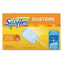 "Swiffer® Dusters Starter Kit, Dust Lock Fiber, 6"" Handle, Blue/Yellow"