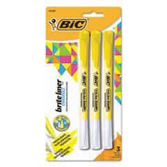 BIC® Brite Liner Erasable Highlighter, Chisel Tip, Fluorescent Yellow, 3/Pack BICBLERP31YW