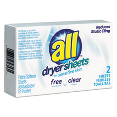 All® Free Clear Vend Pack Dryer Sheets, Fragrance Free, 2 Sheets/Box, 100 Box/Carton