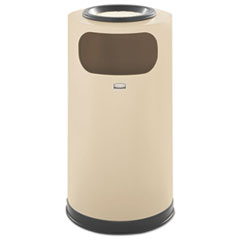 Rubbermaid® Commercial European & Metallic Series Sand Urn/Waste Receptacle, Round, 12 gallon, Almond