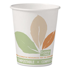 Dart® Bare by Solo Eco-Forward PLA Paper Hot Cups, 10 oz, Leaf Design, 50/Pack