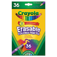 Erasable Colored Woodcase Pencils, 3.3 mm, 36 Assorted Colors/Set