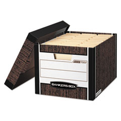 "R-KIVE Heavy-Duty Storage Boxes, Letter/Legal Files, 12.75"" x 16.5"" x 10.38"", Woodgrain, 12/Carton"