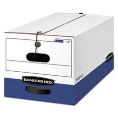 LIBERTY Heavy-Duty Strength Storage Box, Letter, 12 x 24 x 10, White/Blue, 4/CT