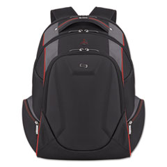 """Solo Launch Laptop Backpack, 17.3"""", 12 1/2 x 8 x 19 1/2, Black/Gray/Red"""