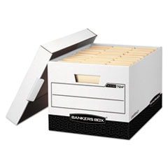 R-KIVE Max Storage Box, Legal/Letter, Locking Lid, White/Black, 12/Carton