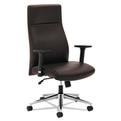 Basyx by HON VL108 Executive High-Back Chair, Brown Leather BSXVL108SB45