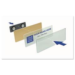 The Mighty Badge™ Name Badge Kit, Inkjet Inserts, 1 x 3, White/Gold, 10 Kits