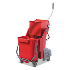 Unger® Side-Press Restroom Mop Dual Bucket Combo, 8gal, Plastic, Red