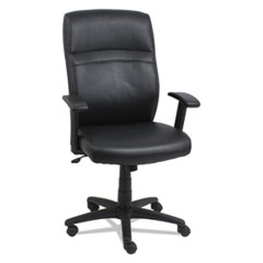 Alera® High-Back Swivel/Tilt Leather Chair, Supports up to 275 lbs., Black Seat/Black Back, Black Base