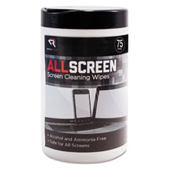 "Read Right® AllScreen Screen Cleaning Wipes, 6"" x 6"", White, 75/Tub"