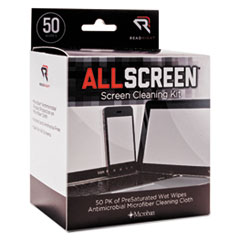 Read Right® AllScreen Screen Cleaning Kit, 50 Wipes, 1 Microfiber Cloth