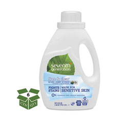 Seventh Generation® Natural 2X Concentrate Liquid Laundry Detergent, Free/Clear, 33 loads, 50oz,6/CT