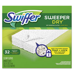 "Swiffer® Dry Refill Cloths, White, Unscented, 10 5/8"" x 8"", 32/Box, 4 Box/Carton"