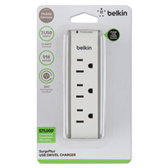 Belkin® SurgePlus USB Swivel Charger, 3 Outlets/2 USB Ports, 918 Joules, White