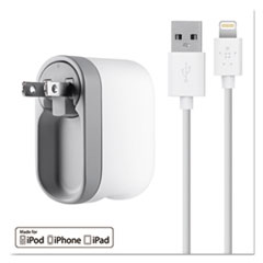 Belkin® Swivel Charger, 2.1 Amp Port, Detachable Lightning Cable, White