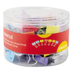 Universal® Emoji Themed Binder Clips in Dispenser Tub, Medium, Assorted Colors, 42/Pack