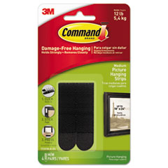 "Command™ Picture Hanging Strips, 3/4"" x 2 3/4"", Black, 4/Pack MMM17201BLKES"
