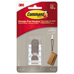 Command™ Decorative Hooks, Medium, 1 Hook & 2 Strips/Pack