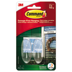 Command™ All Weather Hooks and Strips, Plastic, Medium, 2 Hooks & 4 Strips/Pack