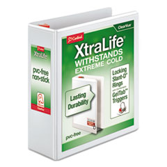 "XtraLife ClearVue Non-Stick Locking Slant-D Ring Binder, 3 Rings, 3"" Capacity, 11 x 8.5, White"