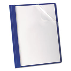 Oxford™ Premium Paper Clear Front Cover, 3 Fasteners, Letter, Blue, 25/Box