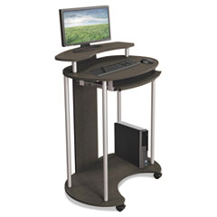 BALT® Up-Rite Mobile Standing Workstation, 27 1/2 x 22 1/2 x 45 1/2, Smoked Sapelle