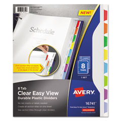 Avery® Clear Easy View Plastic Dividers with Sheet Protector, Multicolor, 8-Tab, Letter AVE16741