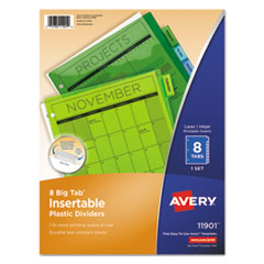 Insertable Big Tab Plastic Dividers, 8-Tab, 11 x 8.5, Assorted, 1 Set