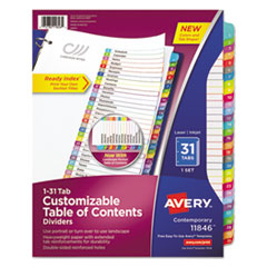 Avery® Ready Index Table of Contents Dividers, Multicolor Tabs, 1-31, Letter AVE11846