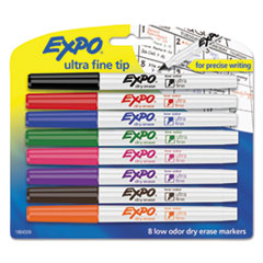 EXPO® Low-Odor Dry-Erase Marker, Extra-Fine Needle Tip, Assorted Colors, 8/Set