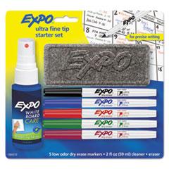 EXPO® Low-Odor Dry Erase Marker Starter Set, Extra-Fine Needle Tip, Assorted Colors, 5/Set