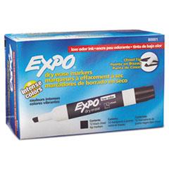 Low-Odor Dry-Erase Marker, Broad Chisel Tip, Black, Dozen