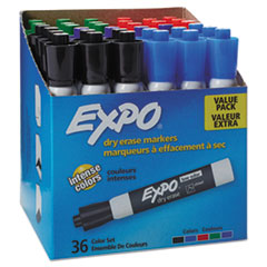 EXPO® Low-Odor Dry-Erase Marker, Broad Chisel Tip, Assorted Colors, 36/Box