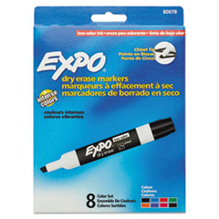 EXPO® Low-Odor Dry-Erase Marker, Broad Chisel Tip, Assorted Colors, 8/Set