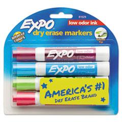 EXPO® Low-Odor Dry-Erase Marker, Broad Chisel Tip, Assorted Colors, 4/Set