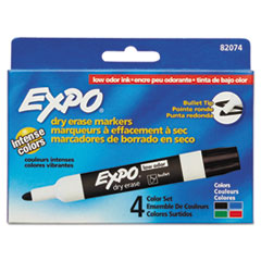 EXPO® Low-Odor Dry-Erase Marker, Medium Bullet Tip, Assorted Colors, 4/Set