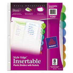 Avery® Style Edge Insertable Dividers with Pocket, Multicolor, 8-Tab, 11 1/4 x 9 1/4