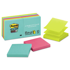 Post-it® Pop-up Notes Super Sticky Pop-up 3 x 3 Note Refill, Miami, 90/Pad, 10 Pads/Pack MMMR33010SSMIA