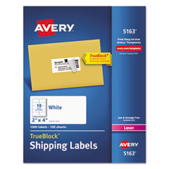 Avery® Shipping Labels w/ TrueBlock Technology, Laser Printers, 2 x 4, White, 10/Sheet, 100 Sheets/Box