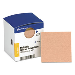 "First Aid Only™ SmartCompliance Moleskin/Blister Protection, 2"" Squares, 10/Box"