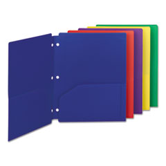 Smead® Poly Snap-In Two-Pocket Folder, 11 x 8 1/2, Assorted, 10/Pack