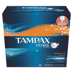 Tampax® Pearl Tampons, Super Plus, 36/Box, 6 Box/Carton