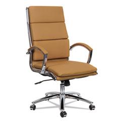 Alera® Alera Neratoli High-Back Slim Profile Chair, Camel Soft Leather, Chrome Frame ALENR4159