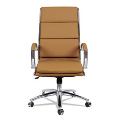 Alera® Alera Neratoli High-Back Slim Profile Chair, Supports up to 275 lbs., Camel Seat/Camel Back, Chrome Base